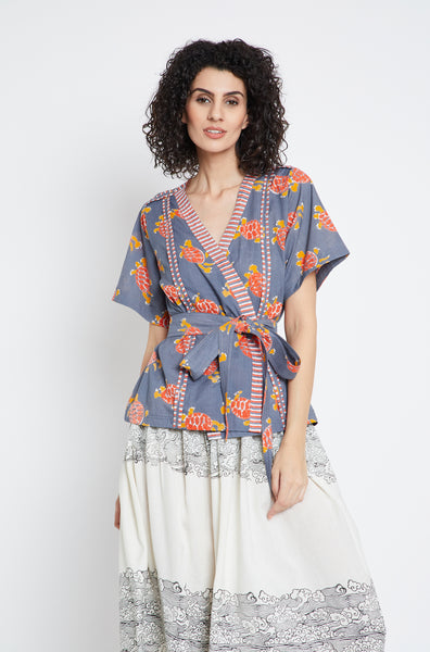 Tortoise Safari Wrap Top