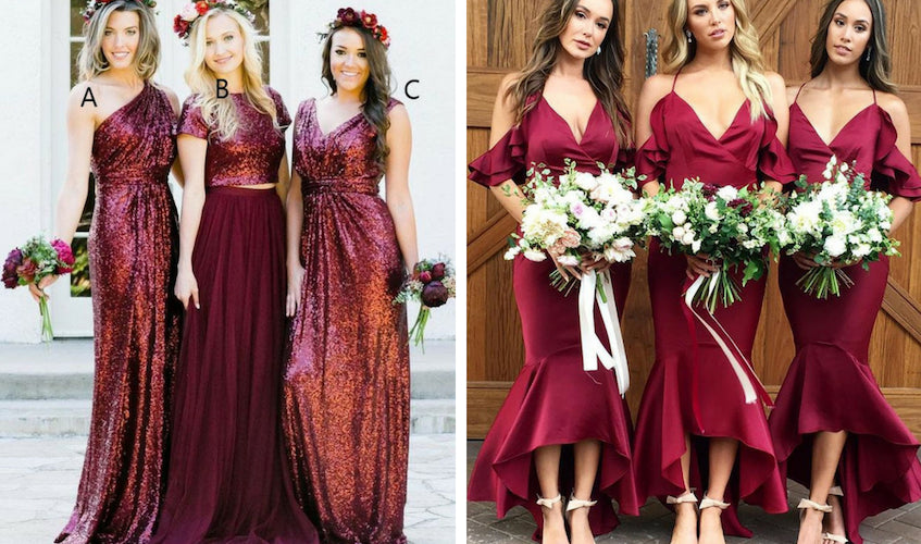 Long Sequins Lace Burgundy Modest Mismatched Bridesmaid Dresses with Sleeves