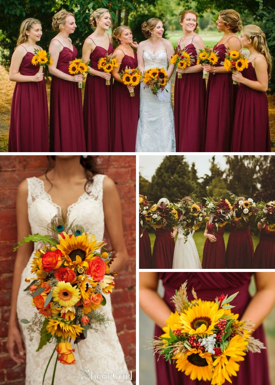fall wedding with sunflower