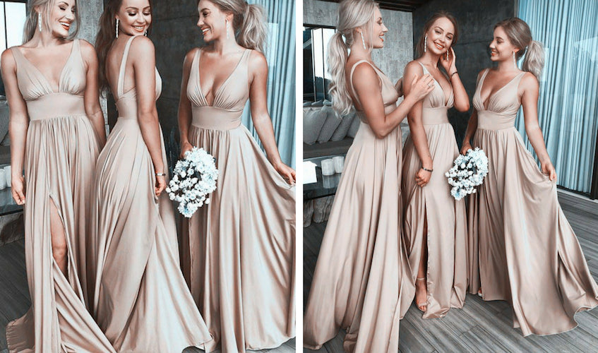 gold long bridesmaid dresses.