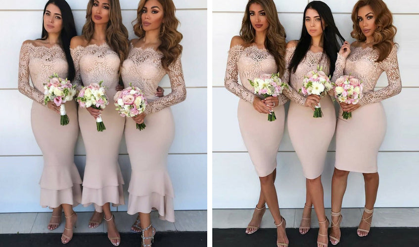 mermaid long sleeve bridesmaid dresses.