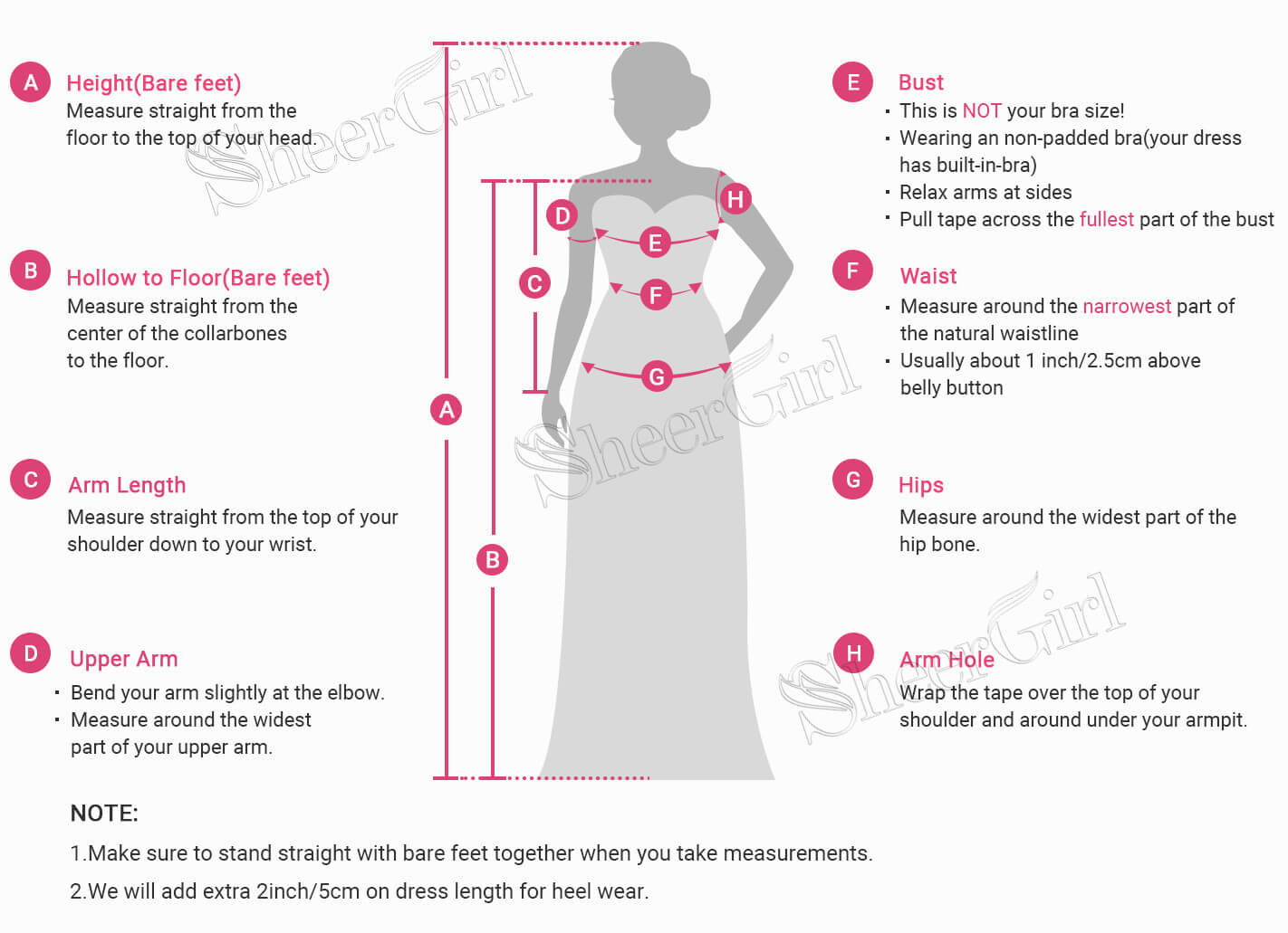 measure guide for dresses
