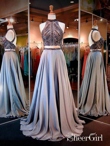 2 Piece Beaded Backless Chiffon Prom Dresses High Neck Open Back Formal Evening Gown ARD1003-SheerGirl