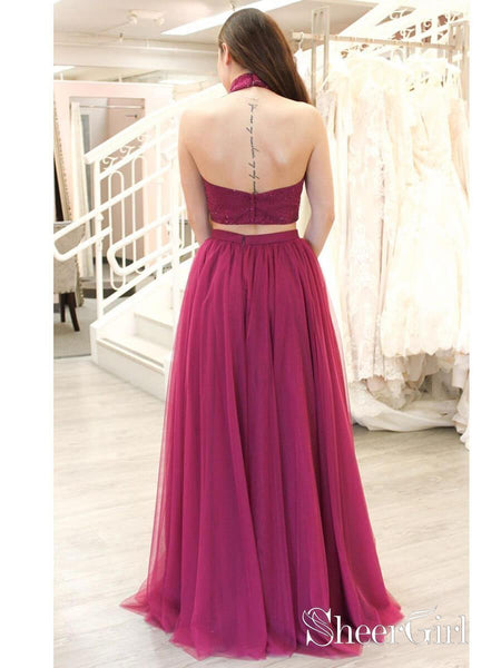 2 Piece Beaded Fuchsia Prom Dresses Long A Line Sexy Slit Tulle Prom Dress APD3398-SheerGirl