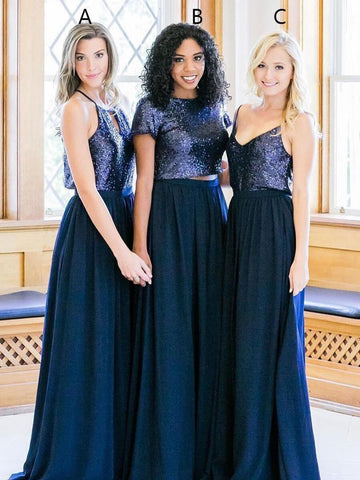 2 Piece Cheap Sequins Navy Blue Maxi Mismatched Bridesmaid Dresses with Sleeves PB10114-SheerGirl