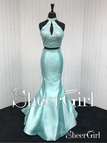 2 Piece Formal Dresses Blue Halter Lace Beaded Mermaid Prom Dresses 2018 APD3284-SheerGirl