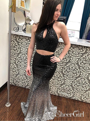 2 Piece Long Black Mermaid Prom Dresses Halter Ombre Sequins Sexy Formal Dress APD3381-SheerGirl