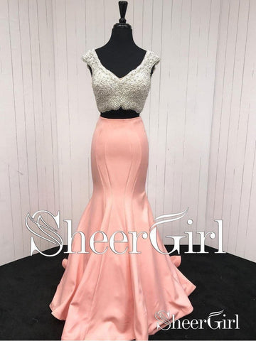 2 Piece Mermaid Prom Dresses for Women Plus Size Coral Formal Dresses 2018 APD3283-SheerGirl