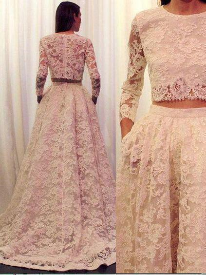 2 Pieces Long Sleeves Lace Wedding Dress with Pocket Vintage Bridal Gown,apd2107