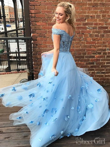 3D Floral Applique Junior Prom Dresses Off the Shoulder Lace Prom Gown ARD2147-SheerGirl