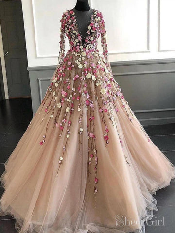 3D Floral Appliqued Vintage Prom Dresses Long Sleeve Elegant Prom Dress ARD2090-SheerGirl