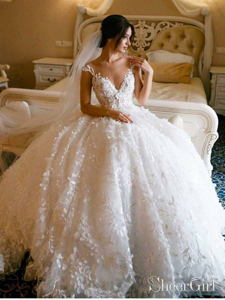 3D Floral Lace Wedding Dresses Vintage Ball Gown Wedding Dress AWD1456-SheerGirl