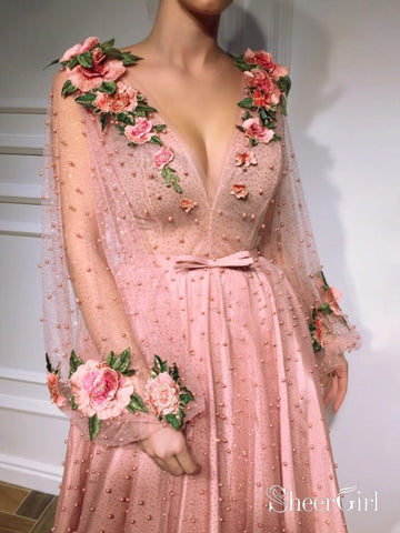 products/3d-floral-long-sleeve-pink-prom-dresses-pearl-beaded-v-neck-formal-dress-ard1947-2.jpg