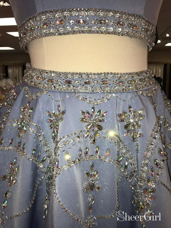 A-line 2 Piece Homecoming Dresses Light Blue Rhinestone Beaded Hoco Dress APD2746-SheerGirl