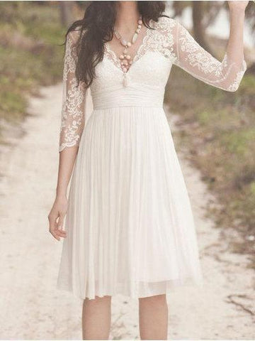 A Line 3/4 Sleeve Short Lace Wedding Dresses Vintage Knee Length V Neck Wedding Dress BB0013-SheerGirl