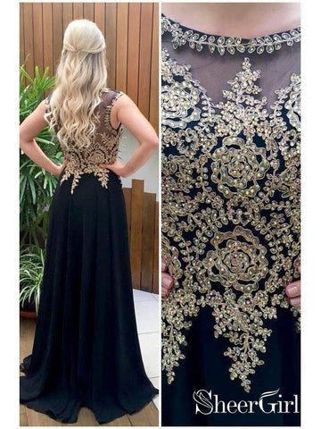 products/a-line-black-chiffon-with-gold-lace-appliqued-long-prom-dresses-apd2826-sheergirl-2.jpg