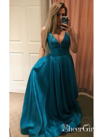 A Line Cheap Blue Prom Dresses V-neck Simple Maxi Formal Evening Dresses Online ARD1034-SheerGirl
