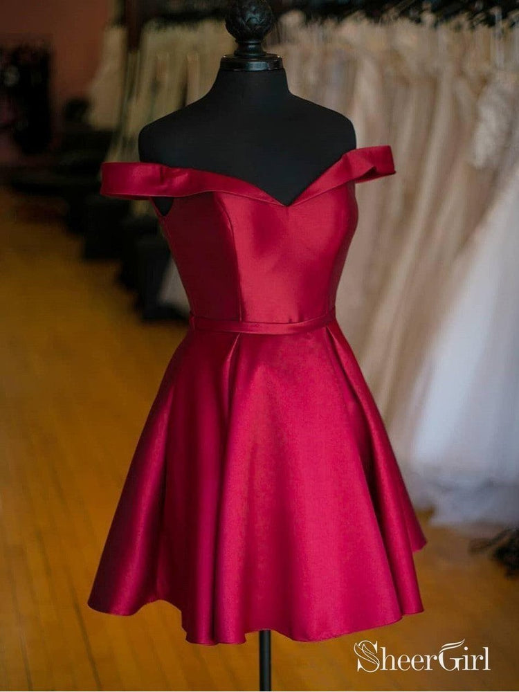 A Line Cheap Simple Dark Plum Off the Shoulder Homecoming Dresses ARD1355