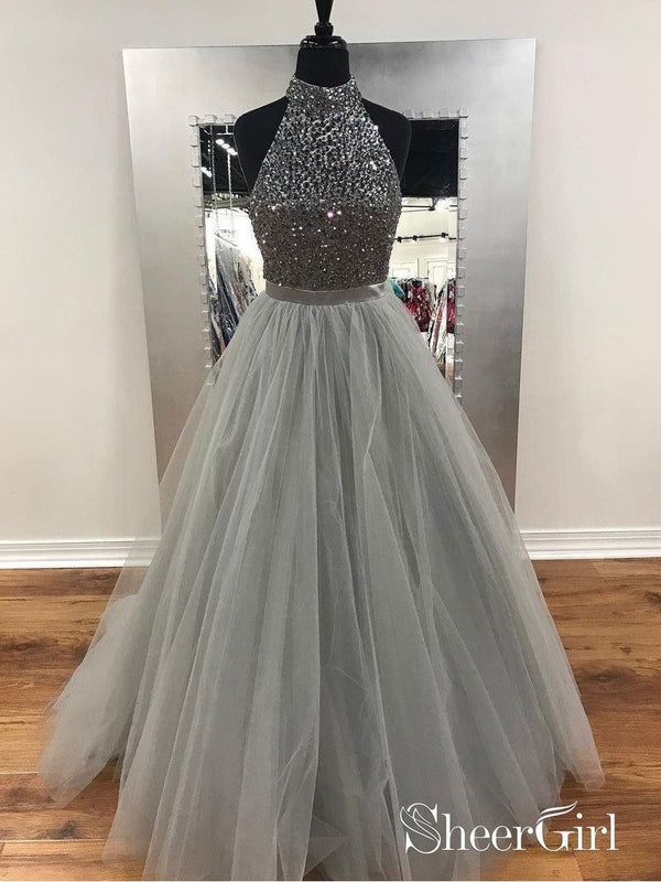 A-line Halter High Neck Grey Tulle with Rhinestone Beaded Prom Dresses APD2783-SheerGirl