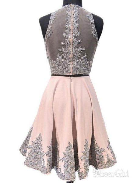 A-line Illusion Neck Grey Lace Appliqued 2 Piece Homecoming Dresses APD2837-SheerGirl