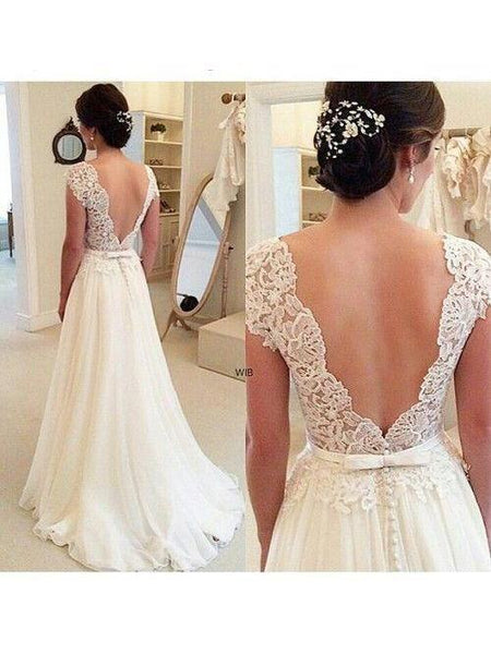A-line Ivory Chiffon Lace Beach Wedding Dresses with Sleeves adp1405-SheerGirl