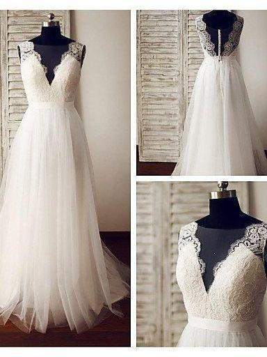 A-line Ivory Tulle Lace Appliqued Summer Wedding Dresses,apd2478-SheerGirl