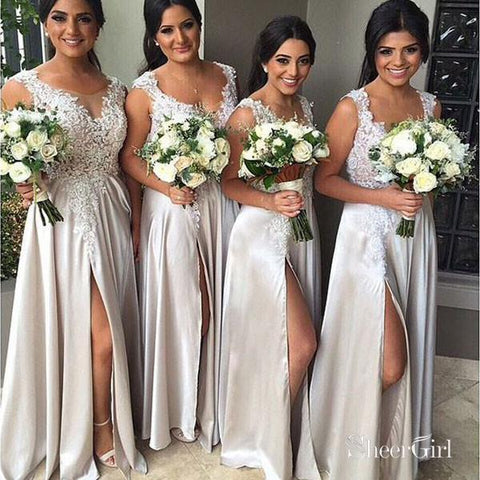A-line Lace Appliqued Silver Satin Bridesmaid Dresses with Slit,Long Wedding Party Dresses,apd1822-SheerGirl