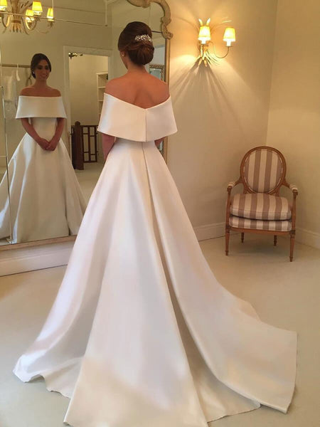 A-line Off the Shoulder Satin Cheap Simple Bridal Wedding Dresses SWD0058-SheerGirl
