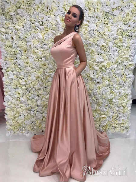 A-line One Shoulder Long Cheap Prom Dresses Simple Prom Dresses APD2800-SheerGirl