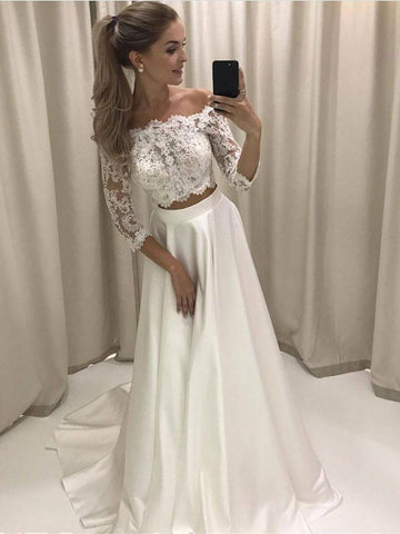 A-line Princess Lace Bodice 3/4 Sleeves Two Pieces Simple Wedding Dresses APD3033-SheerGirl