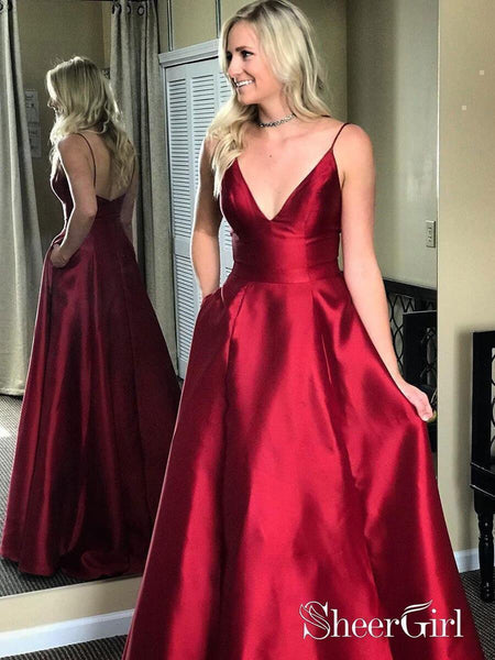 A Line Satin Burgundy Simple Prom Dresses Spaghetti Strap V Neck Plus Size Formal Dresses ARD1025-SheerGirl