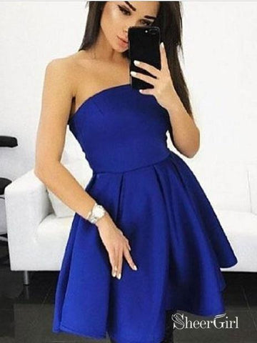 A-line Strapless Royal Blue Jersey Mini Cheap Homecoming Dresses,apd2670-SheerGirl