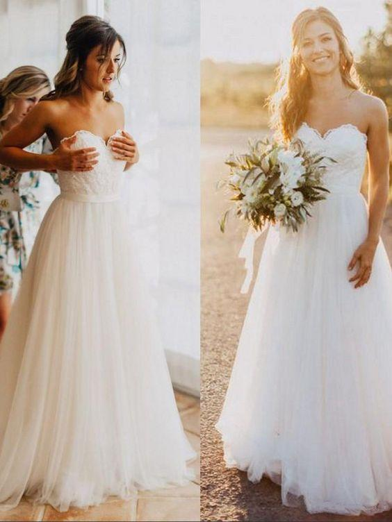 A-line Strapless Sweetheart Neck Beach Wedding Dresses Rustic Wedding Dress,apd1784-SheerGirl