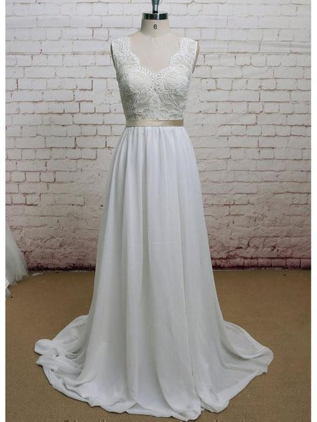 A-line V-neck Chiffon Lace Ivory Beach Wedding Dresses with Sash,apd2375-SheerGirl