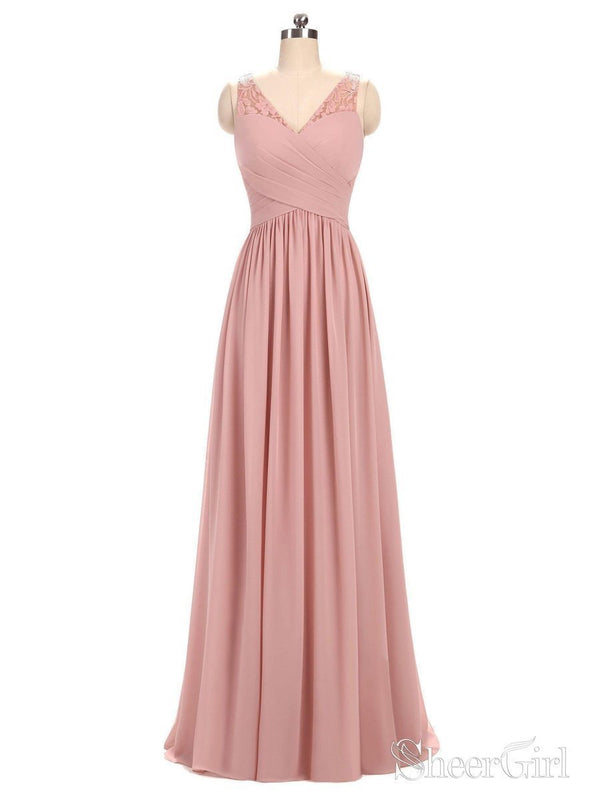 A-line V-neck Chiffon Long Bridesmaid Dresses,Cheap Dresses for Bridesmaid APD2827-SheerGirl