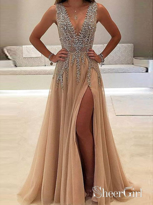 A-line V-neck Evening Dress with Slit Sexy Shiny Rhinestone Long Prom Dresses APD2079-SheerGirl