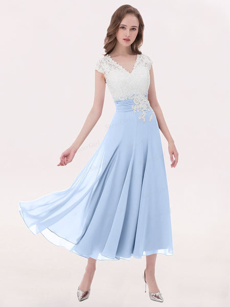 A-line V-neck Ivory Lace Applique Tea-length Bridesmaid Dresses Plus Size apd2656-SheerGirl