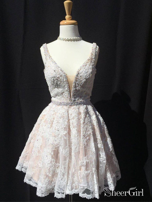 A-line V-neck Ivory Lace Beaded Homecoming Dresses Short Prom Gowns APD2698-SheerGirl