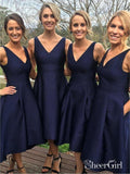 A-line V-neck Navy Satin Wedding Midi Bridesmaid Dresses High Low Party Dress APD2753-SheerGirl