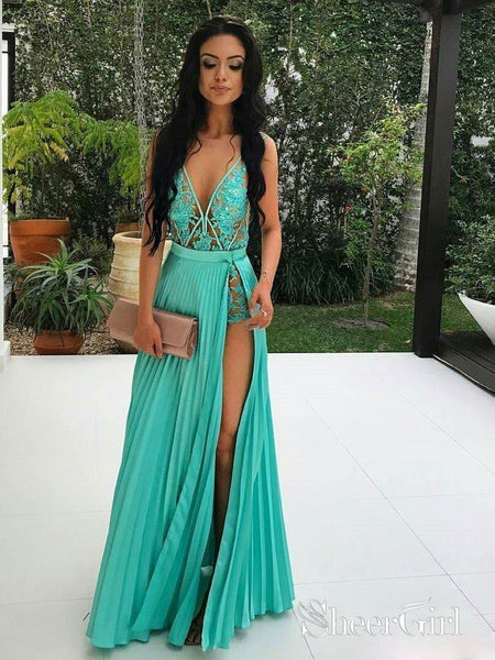 A-line V-neck See Through Lace Appliqued Sexy Long Prom Dresses APD2782-SheerGirl