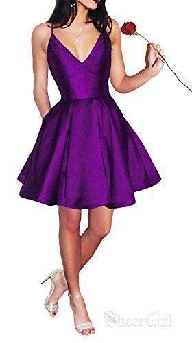 A-line V-neck Spaghetti Strap Burgundy Simple Homecoming Dresses with Pocket APD2544