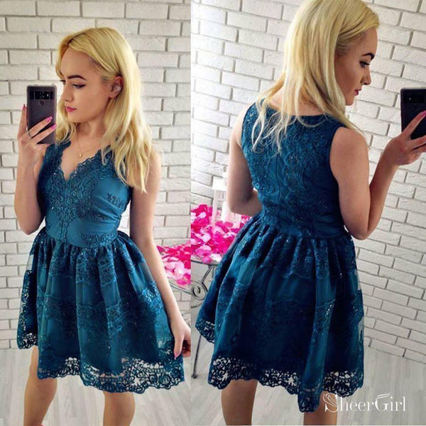 A-line V-neck Vintage Sky Blue Lace Short Homecoming Dresses,apd2649-SheerGirl