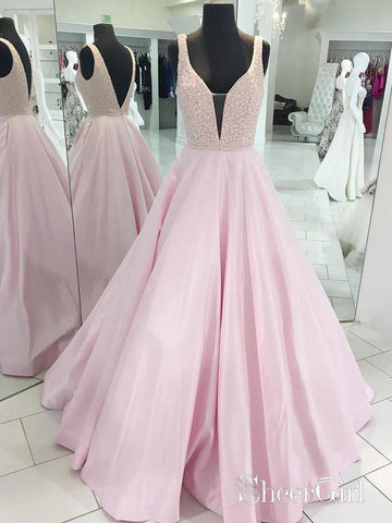 A-line/Princess V-neck Beaded Bodice Pink Long Prom Dresses APD3075-SheerGirl