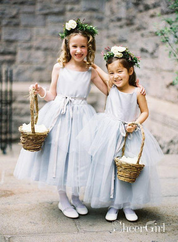 Ankle Length Cheap Tulle Silver Flower Girl Dresses with Sash ARD1458-SheerGirl