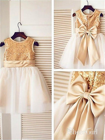 Ankle Length Golden Sequin Cute Flower Girl Dresses with Bow-knot on the Back ARD1220-SheerGirl