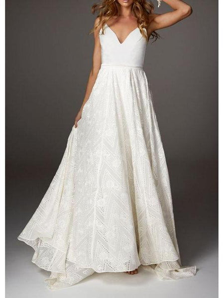 Backless Lace Beach Wedding Dresses Cheap Vintage Summer Wedding Dresses AWD1099-SheerGirl