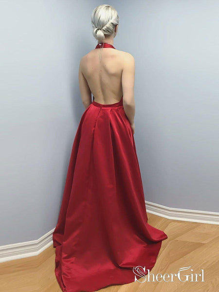 Backless Sexy Prom Dresses Red Halter Cheap Formal Evening Dress with Slit APD3309-SheerGirl