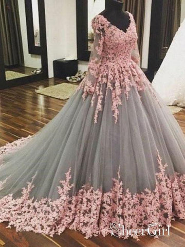 Ball Gown Grey tulle with Pink Lace Appliqued Long Sleeves Quinceanera Dresses APD2719-SheerGirl