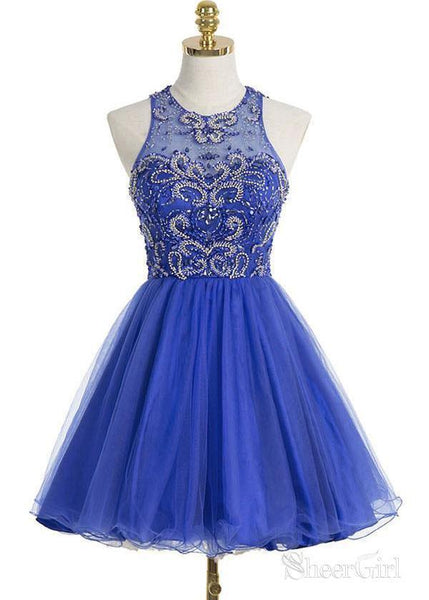 Beaded Bodice Halter Royal Blue Homecoming Dresses,Shiny Short Prom Dresses,apd1828-SheerGirl