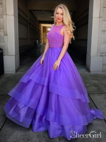 Beaded Bodice Lavender Ball Gown Prom Dresses Long Quinceanera Dress ARD1950-SheerGirl